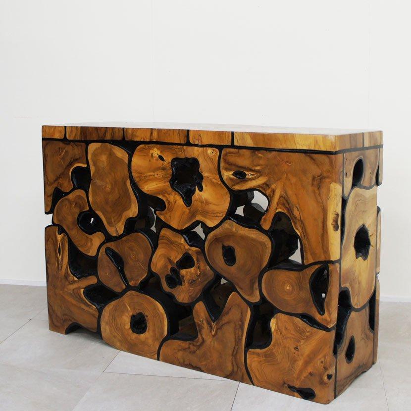 アジアン家具・木製テーブルL/H40*W32cm/BF-011S