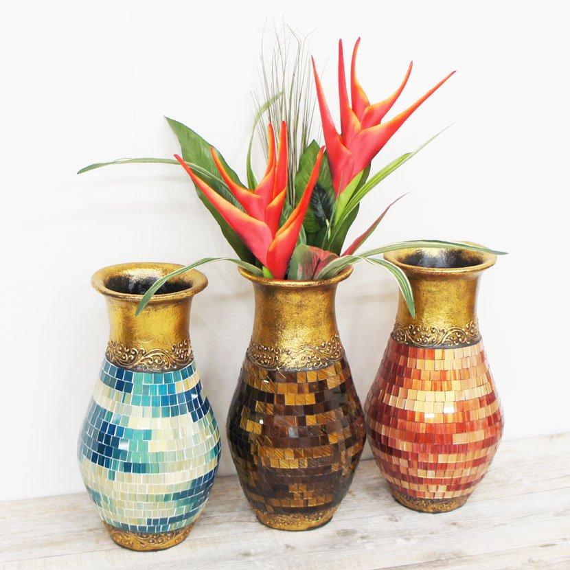 トロピカル造花とモザイクガラス壺セット/H70cm/OB-040SS