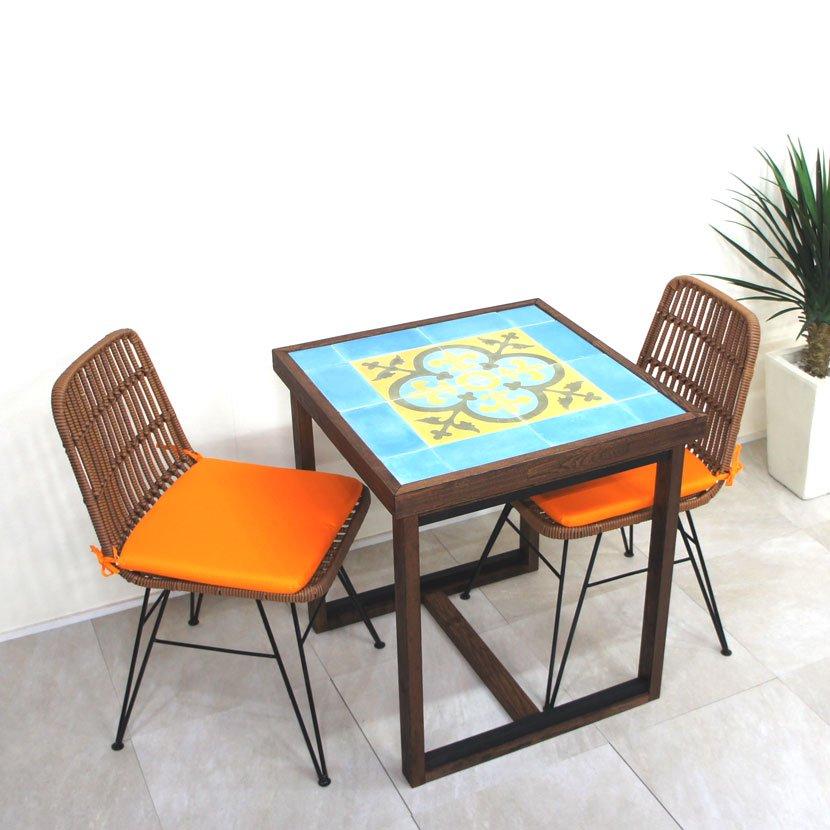 バリタイルコーヒーテーブル・人工ラタンイス3点セット/BOS-001BU