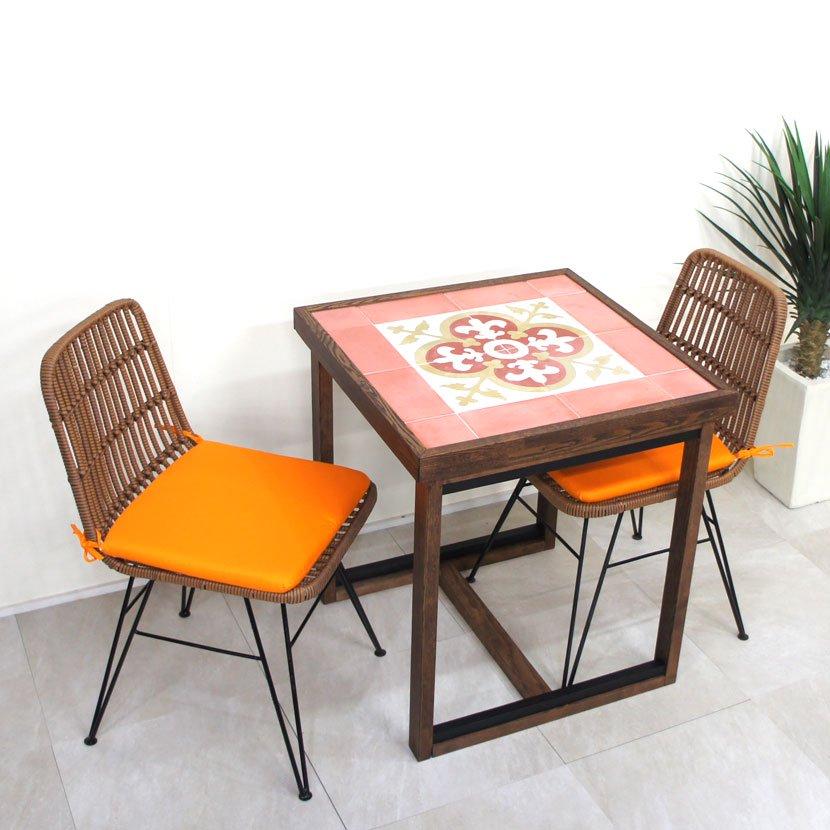バリタイルコーヒーテーブル・人工ラタンイス3点セット/BOS-001PI