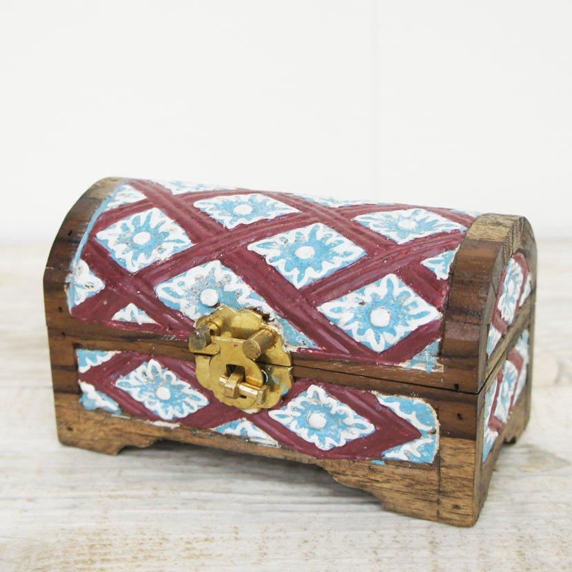 バリ木製彫刻蓋つき小箱/W14cm/AZ-115S