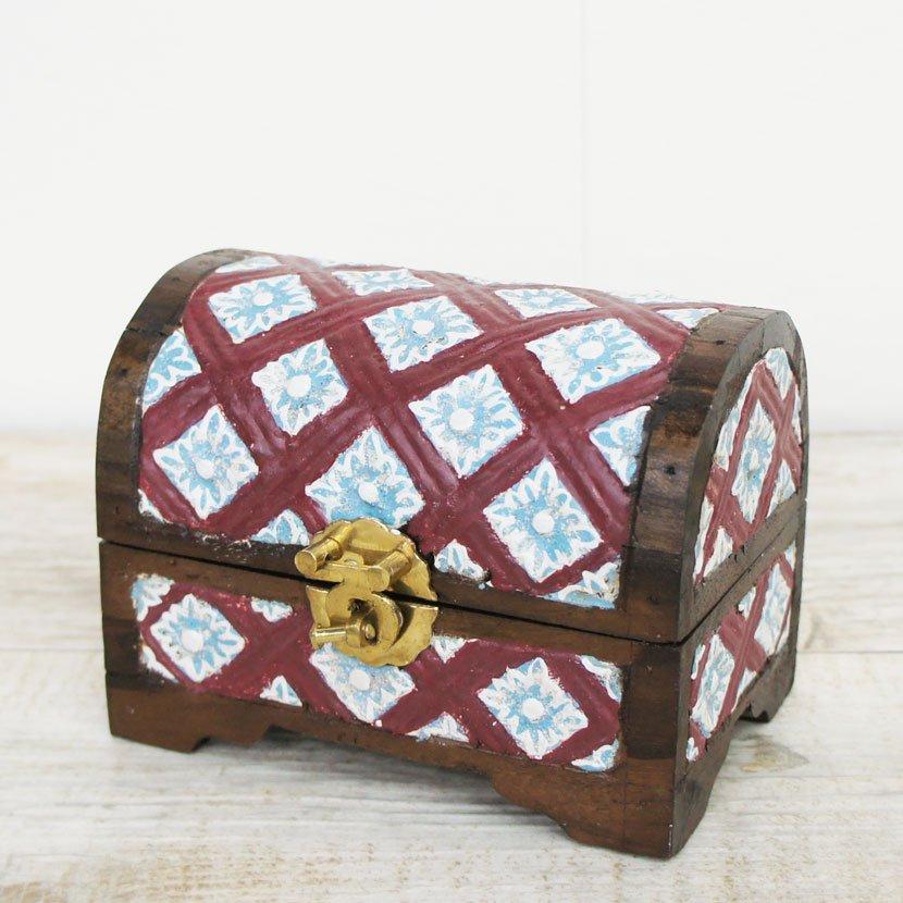 バリ木製彫刻蓋つき小箱/W15cm/AZ-115M