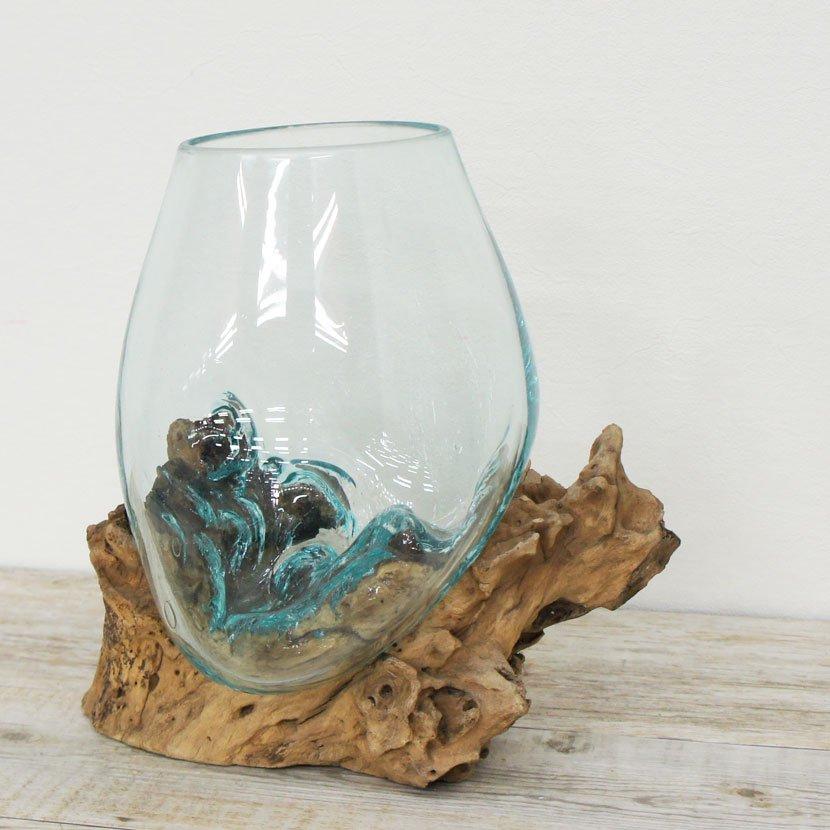 天然木とバリガラスの水鉢/H17*W28cm/OB-095L-19
