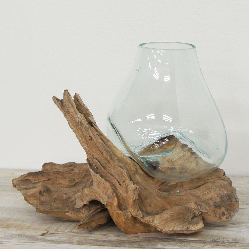 天然木とバリガラスの水鉢/H15*W30cm/OB-095L-20