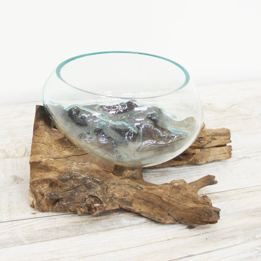 天然木とバリガラスの水鉢/H15*W30cm/OB-095L-21