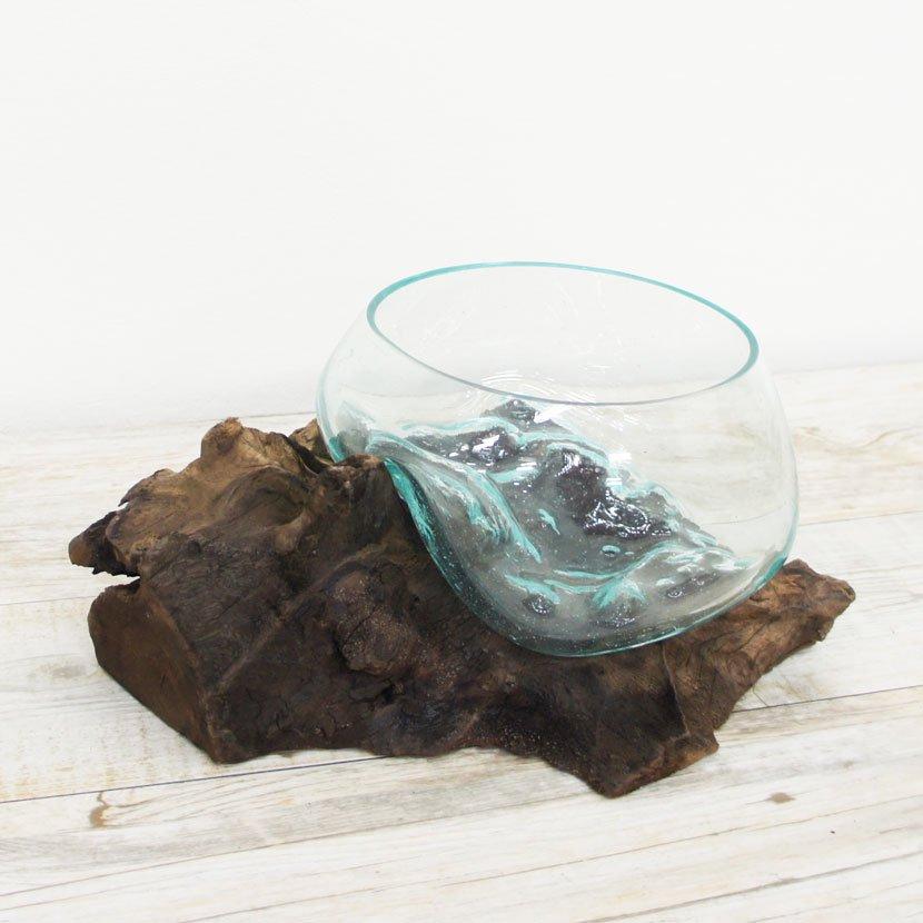 天然木とバリガラスの水鉢/H14*W29cm/OB-095L-22