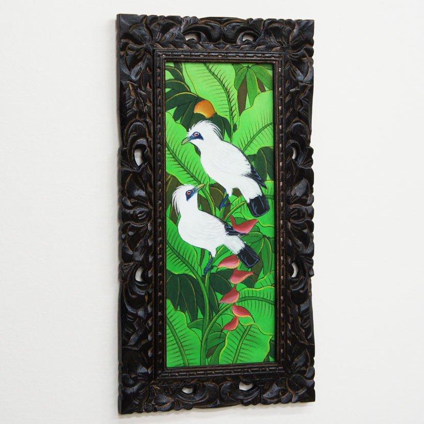 バリ絵画・熱帯花鳥/63*33cm/PA-116-123