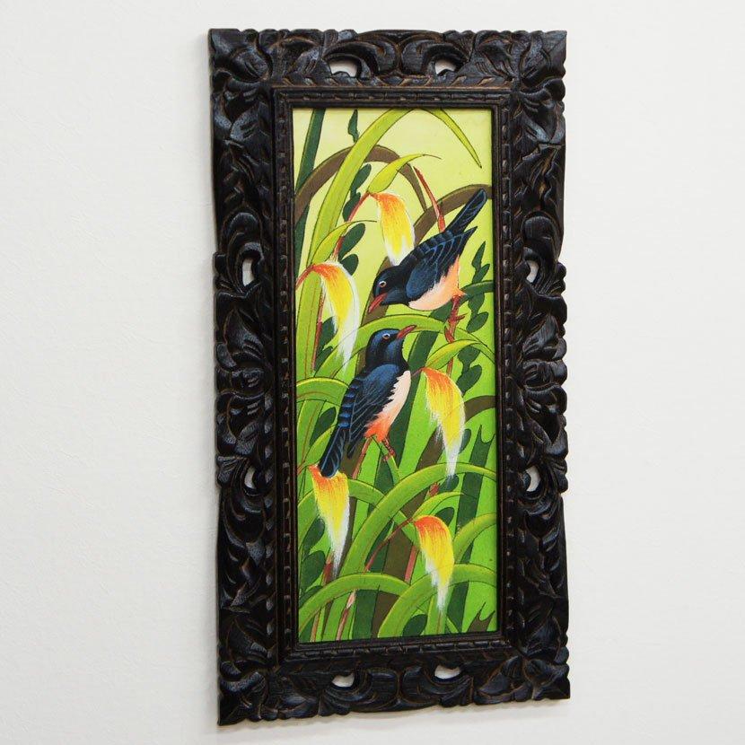 バリ絵画・熱帯花鳥/63*33cm/PA-116-124