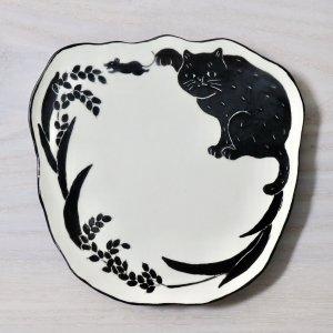 要 美紀  稲穂ねこ皿 (小) プレート