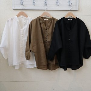 pongee    French linen button gather blouse