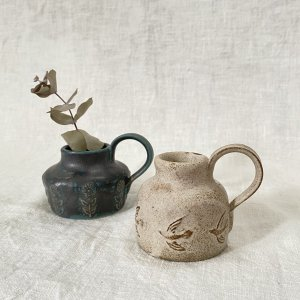 fuji-gallery 陶器 豆花器 ハンドル付き