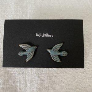 fuji-gallery 鳥のピアス/イヤリング(緑)