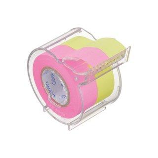 メモックロールテープ<強粘着> 蛍光紙 15mm幅 カッター付(2巻入)