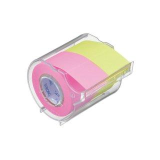 メモックロールテープ<強粘着> 蛍光紙 25mm幅カッター付(2巻入)