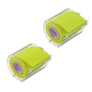 メモックロールテープノート 蛍光紙 50mm幅 カッター付(1巻入)