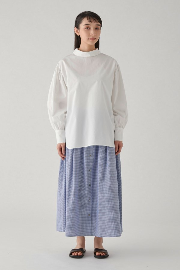 high neck gather sleeve pull over