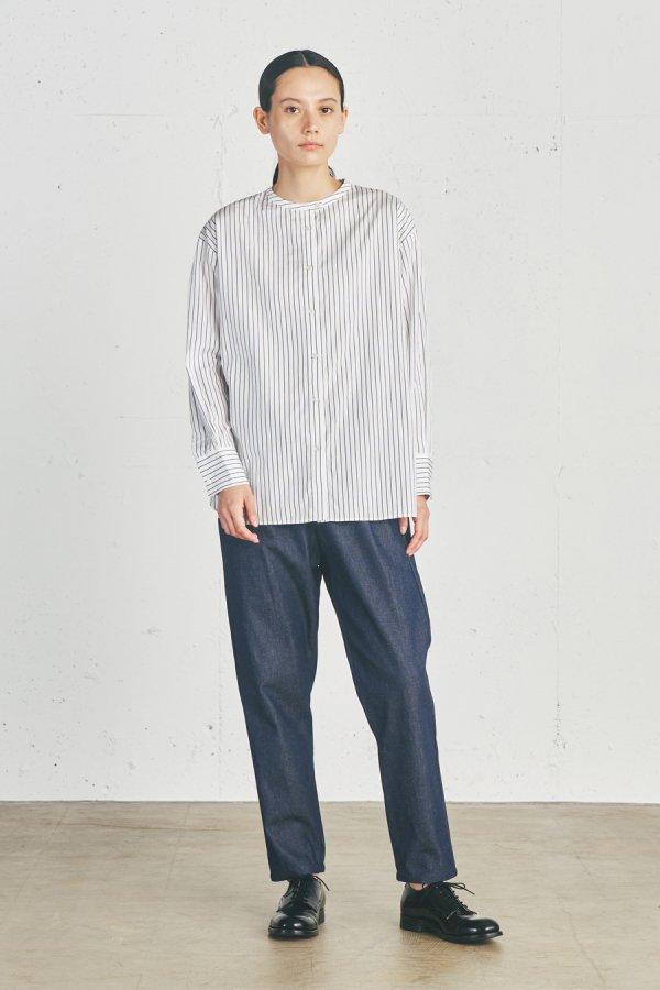stripe stand collar shirt