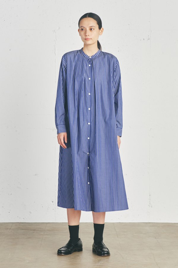 【リンネル掲載】stripe stand collar shirt one piece