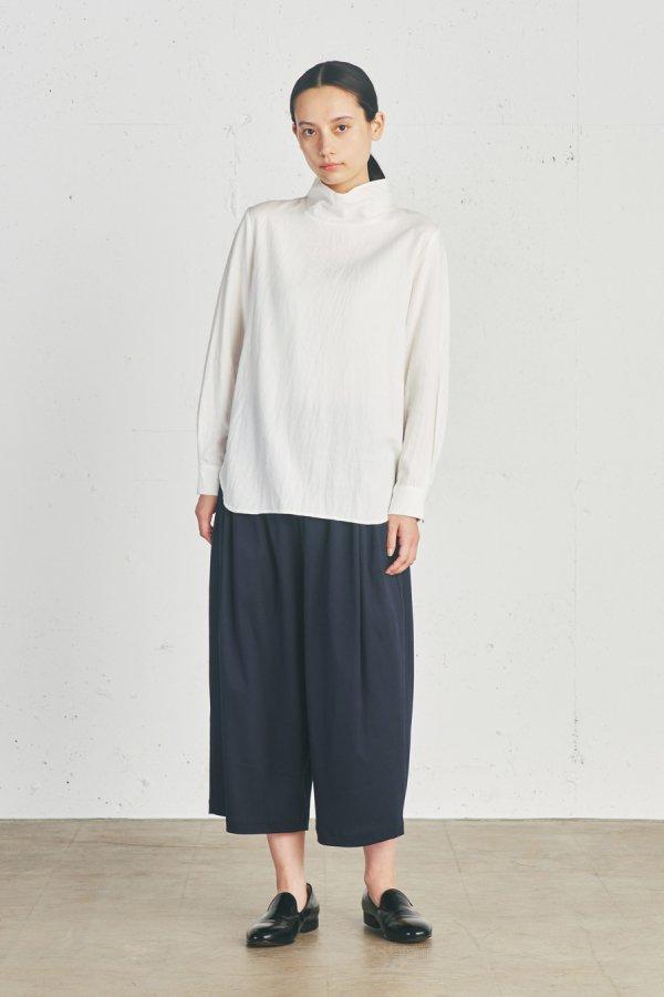 wool blend stand collar shirt