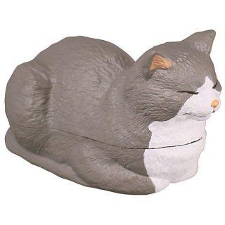香箱座りの猫の小箱 その2 [4.ハチワレ(グレー)]【 ネコポス不可 】【C】