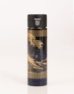 ワンプッシュボトル430ml 黒×紺/浪裏