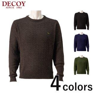 DECOY ケーブル編みクルーネックセーター メンズ秋冬新作 214181<br>の商品画像