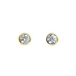 【安心堂ジュエリー】K18イエローゴールドダイヤモンド スタッドピアス(一粒 伏せ爪)の商品画像