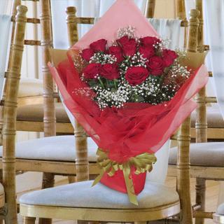 プレミアムダズンローズ 12本(1ダース) 大輪薔薇の花束 赤 [当日配達・深夜配達可]