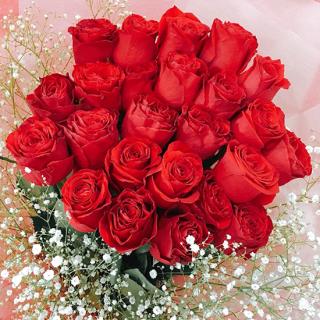 プレミアムローズ 20本 大輪薔薇の花束 赤 [当日配達・深夜配達可]