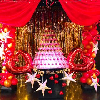 バルーン店内装飾+シャンパンタワー15万