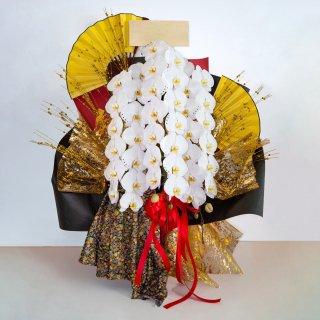 風雅【FUGA】 プレミアム大輪胡蝶蘭 3本立 和モダン風呂敷アレンジ[当日配達・深夜配達可]