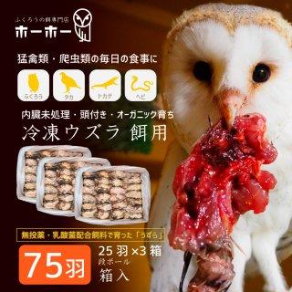 ウズラ75羽餌用 頭付き内臓未処理 オーガニック育ち【冷凍配送】