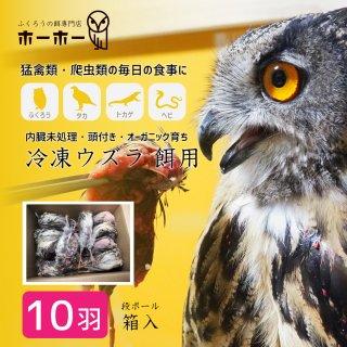 ウズラ10羽 餌用 頭付き内臓未処理 オーガニック育ち【冷凍配送】