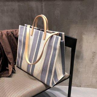 【Mサイズ】ストライプデザイントートバッグ(全3色)