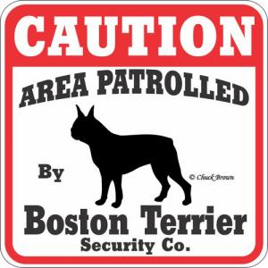 Caution サインボード ボストンテリア