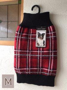 タータンチェックドッグセーター【M】胴48-66cm、丈35cm