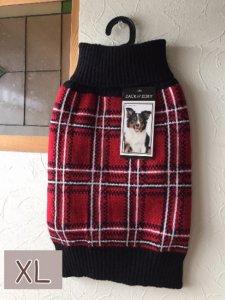 タータンチェックドッグセーター【XL】胴78-98cm、丈55cm