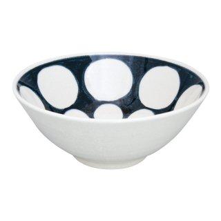 染付濃丸紋 手造り深鉢