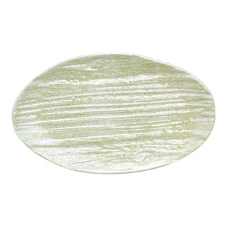 コーラルグリーン 木目楕円皿(小)
