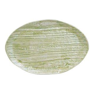 コーラルグリーン 木目楕円皿(大)
