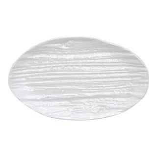 コーラルホワイト 木目楕円皿(小)