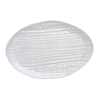 コーラルホワイト 木目楕円皿(大)