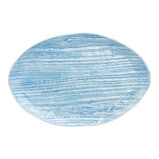 コーラルブルー 木目楕円皿(大)