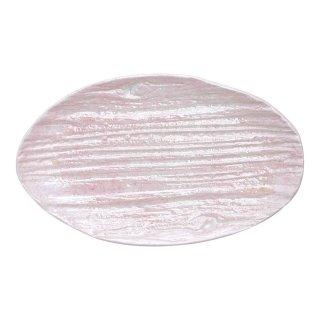 コーラルピンク 木目楕円皿(小)