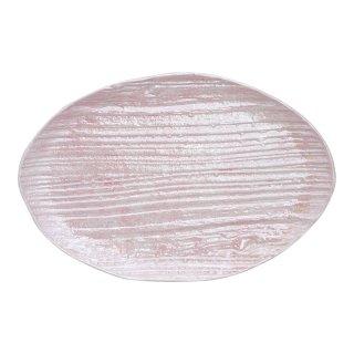 コーラルピンク 木目楕円皿(大)