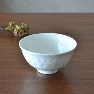 白砂三島彫 飯碗