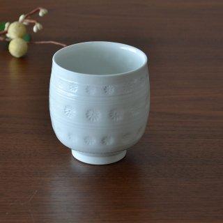 白砂三島彫 湯呑