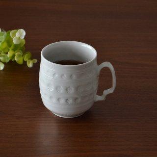 白砂三島彫 マグカップ