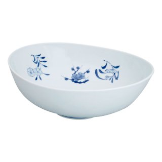 秋草紋 楕円盛鉢