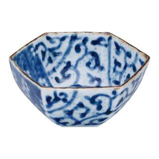 染付濃蛸唐草桜 六角小鉢